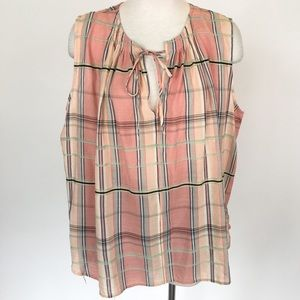 Loft size XL peach plaid cotton tank top